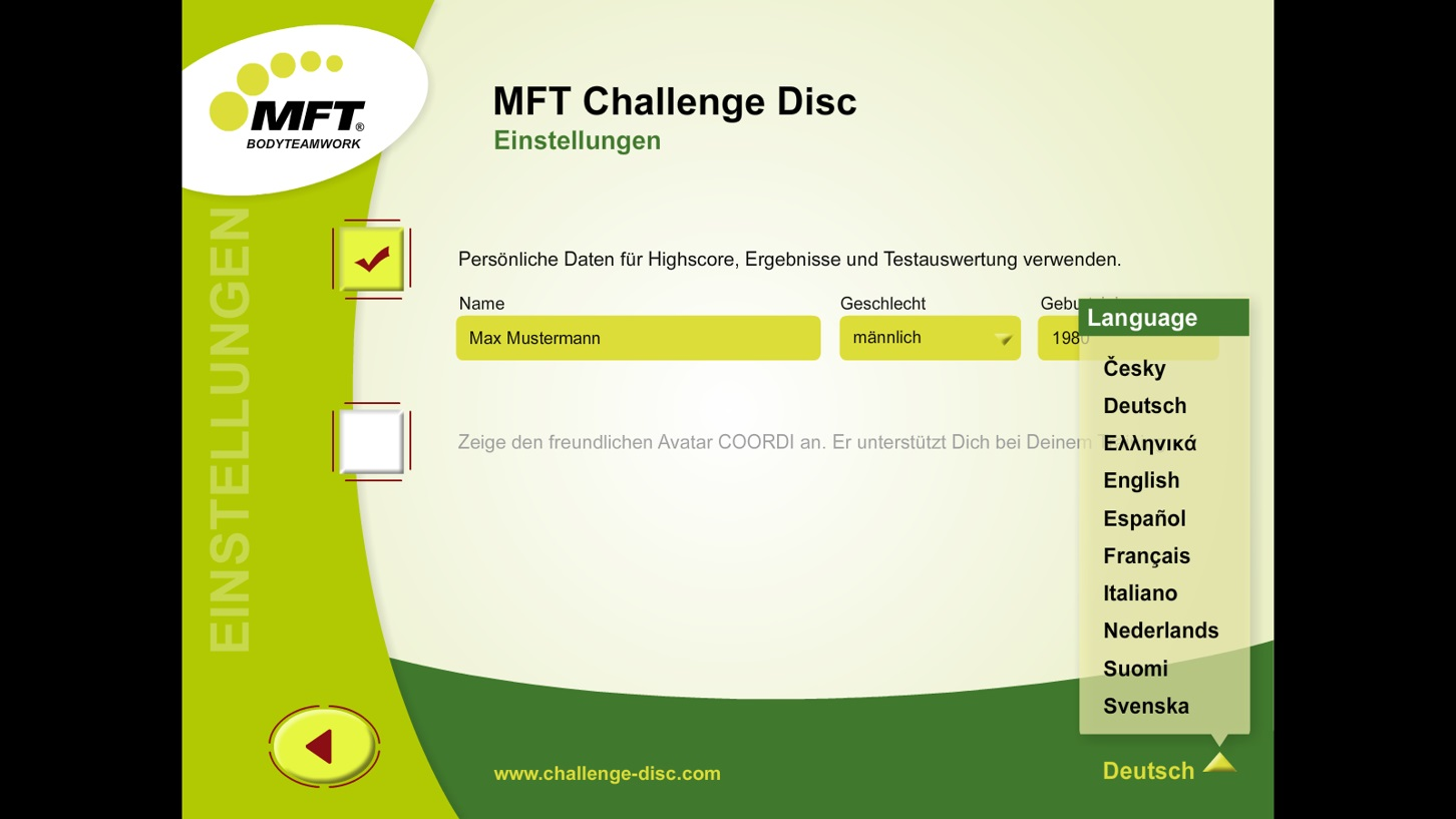 MFT Challenge Disc App - Einstellungen mit Sprachauswahl