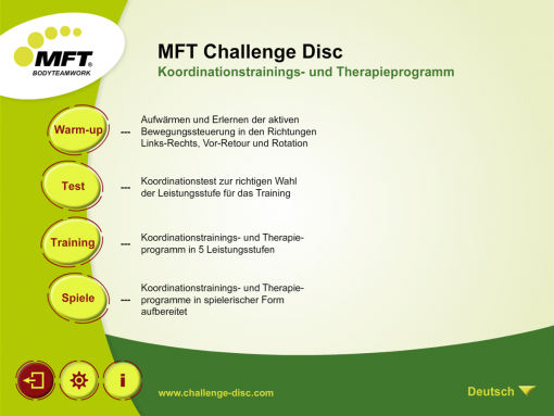 MFT Challenge Disc App - Hauptmenü Koordinationstest- und Trainings-App