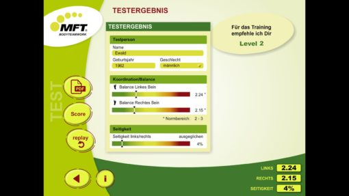 MFT Challenge Disc App - Auswertung Koordinationstest