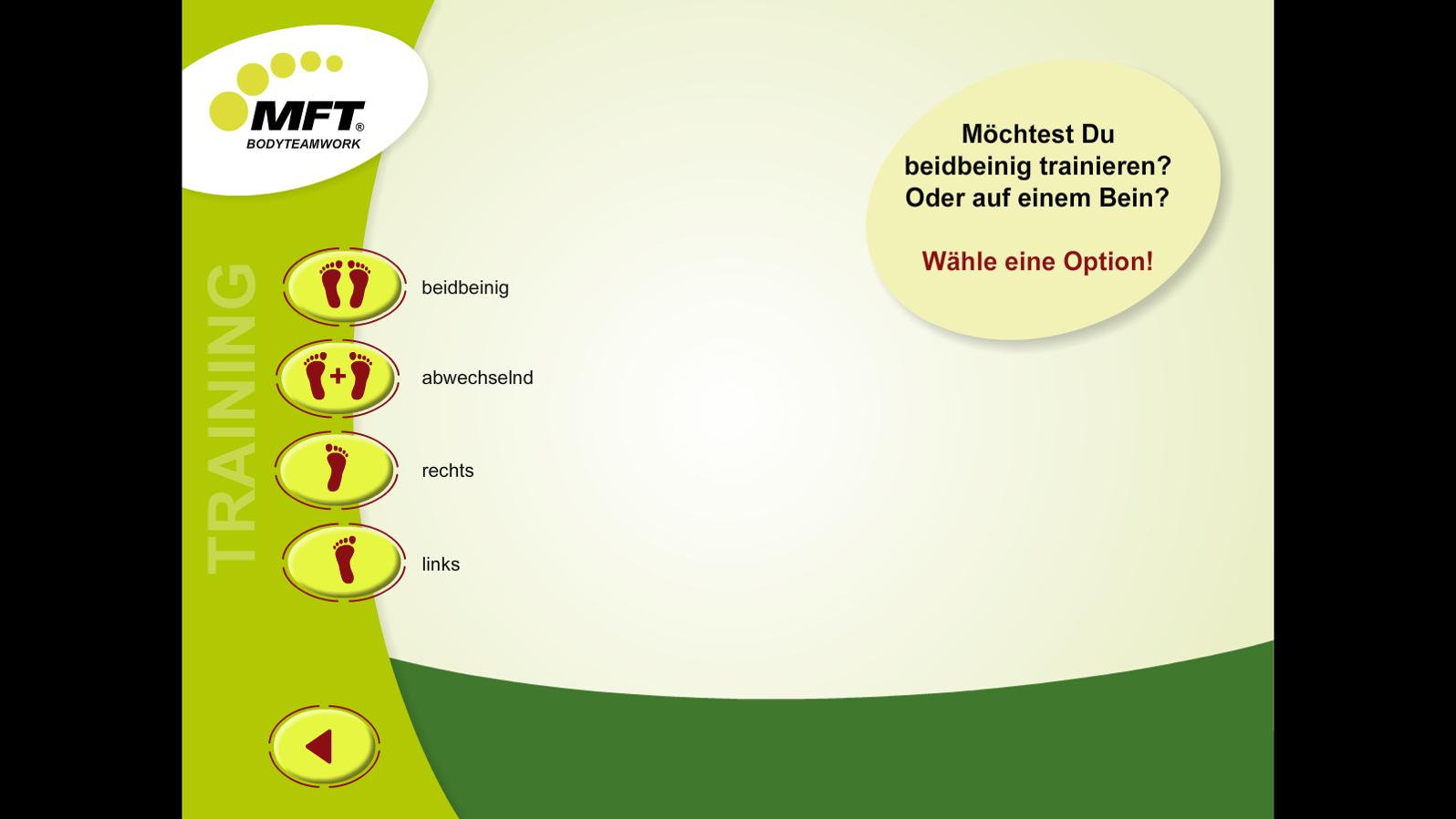 MFT Challenge Disc App - Auswahl-Menü Balance-Trainingsprogramme